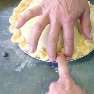 Crimp using your fingers.  This shows how, on a double crust pie.  The single crust won't be quite as thick.